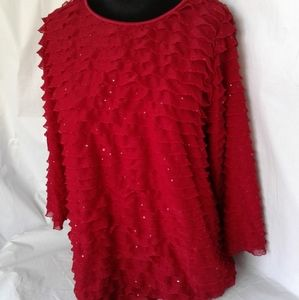 Elementz Red Ruffle Top w/Sparkles Holiday Shirt